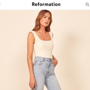 Reformation Jeans Ribbed Emily Tank Top White Lrg